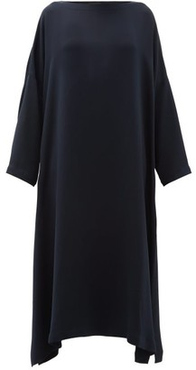 eskandar Boat Neck Silk Crepe Midi Dress - Womens - Navy