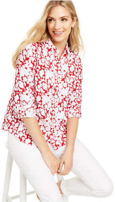 Charter Club Petite Floral-Print Button-Front Shirt