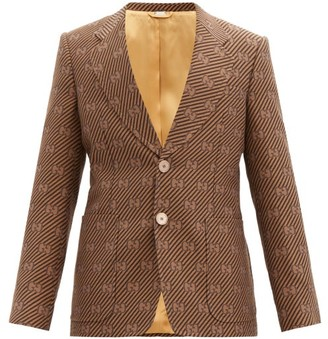 Gucci Single-breasted Cotton-blend Gg-jacquard Jacket - Brown