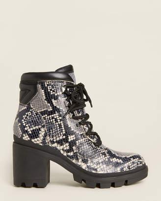 Marc Fisher Rock Kini Snakeskin-Effect Combat Boots