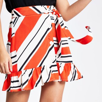 River Island Womens Red stripe print tie waist mini skirt