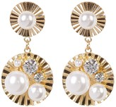 Natasha Accessories Faux Pearl Cluster Disc Drop Earrings
