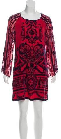 Hale Bob Silk-Blend Embellished Dress
