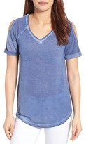Petite Women's Caslon Cold Shoulder V-Neck Tee