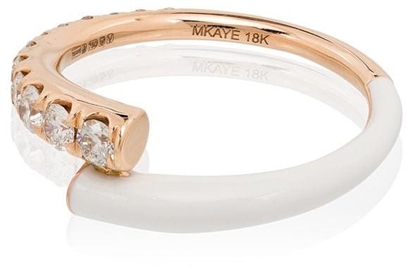 Melissa Kaye Lola 18kt rose gold diamond and enamel ring