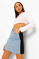 Thumbnail for your product : boohoo Colour Block Denim Mini Skirt