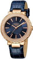 Ferré Milano Women's 36mm Stainless Steel Glitz Watch with Leather Strap, Rose/Blue