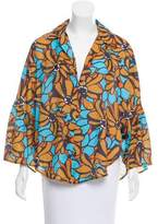 Tome Floral Print Bell Sleeve Top