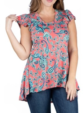 24seven Comfort Apparel Women's Plus Size Coral Print Cap Sleeve High Low Tunic Top