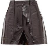 Tibi High-rise Pvc-coated Leather Shorts - Womens - Black