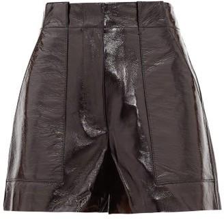 Tibi High-rise Pvc-coated Leather Shorts - Black