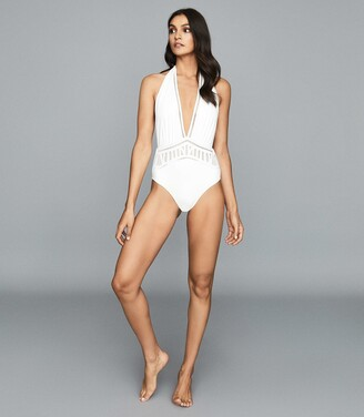 Reiss Etienne - Broderie Detail Swimsuit in White