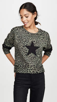 Chrldr Leopard Print Dropped Shoulder Sweatshirt