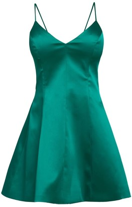 Cliché Reborn Satin Spaghetti Strap Fit Flare Structured Dress In Green