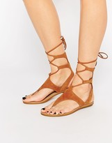 KENDALL + KYLIE Kendall & Kylie Faris Tan Suede Ghillie Tie Up Flat Sandals