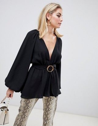 Asos Design DESIGN long sleeve plunge top with kimono sleeve and belt