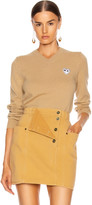 Comme des Garcons White Heart Pullover in Tan | FWRD