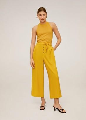 MANGO Buttons culottes trousers mustard - M - Women