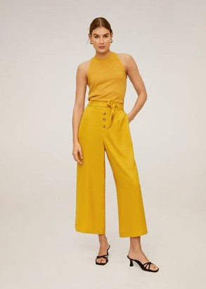 MANGO Buttons culottes trousers mustard - S - Women