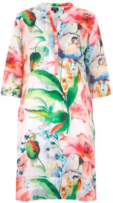 Nologo Chic Floris Flower Linen Tunic Dress