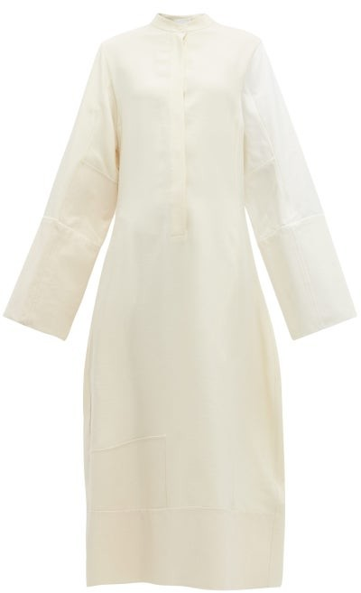 Jil Sander Canvas-patch Shirtdress - Womens - Cream