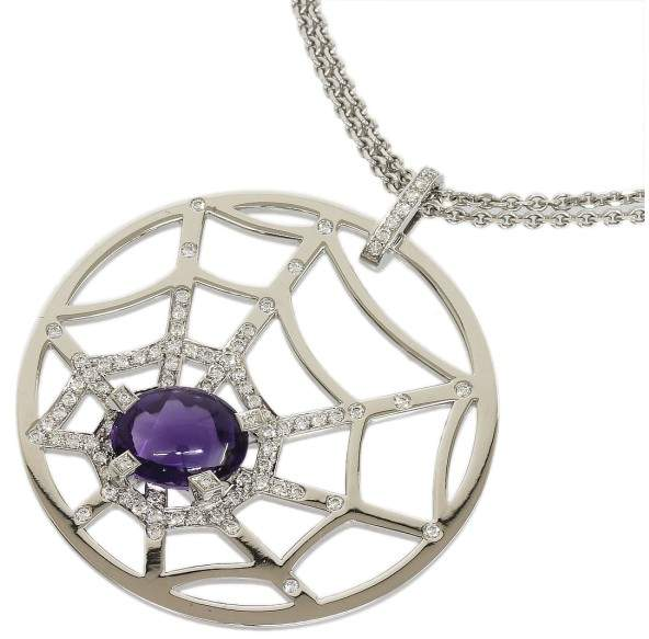 Chaumet 18K White Gold With Amethyst & Diamonds Necklace