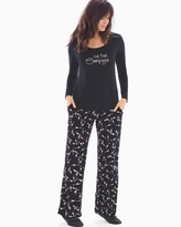 Soma Intimates Scoopneck Long Sleeve Pajama Set Pass The Bubbly Black SH
