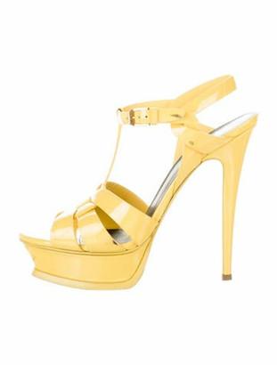 Saint Laurent Patent Leather T-Strap Sandals Yellow