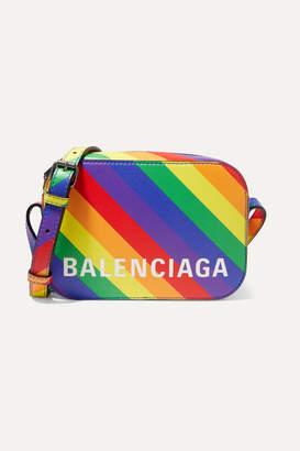Balenciaga Ville Xs Aj Striped Leather Shoulder Bag - Yellow