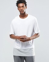 ADPT Crew Neck T-Shirt in Oversized Fit with Contrast Panel