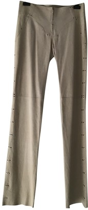 Plein Sud Jeans Ecru Leather Trousers for Women