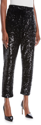 Joan Vass Sequined Slim Ankle Pants