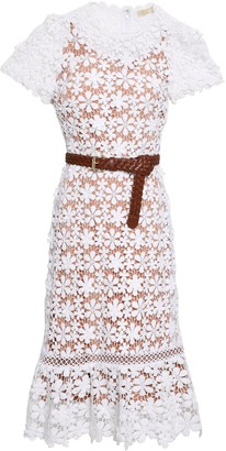 MICHAEL Michael Kors Belted Guipure Cotton-lace Dress