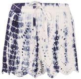 Petite tie dye cutwork shorts