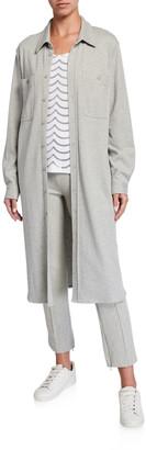 Joan Vass Plus Size Long Button-Front Knit Cotton Shirtdress