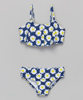 KensieGirl Navy Daisy Bandeau Bikini - Girls