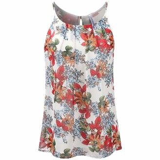 SALEBLOUSE Womens Vintage Boho Vest Tops Summer Spring Plus Size Crew Neck Sleeveless Floral Printed Cotton Slim Fit Casual Fashion Sale Clearance Hem Tank Tops Blouses Shirts Size S-2XL