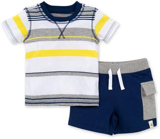 Burt's Bees Desert Multi-Stripe Organic Baby Tee & French Terry Cargo Shorts Set