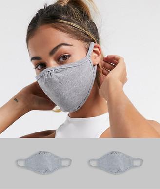 ASOS DESIGN 2 pack face coverings in plain grey