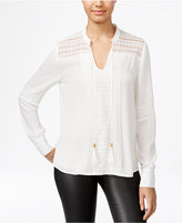 XOXO Juniors' Pintucked Lace-Inset Blouse