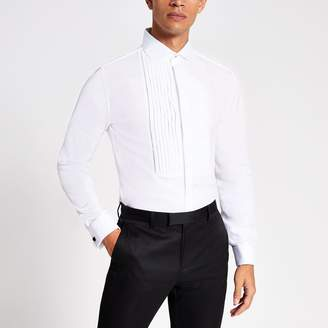 River Island Mens White slim fit pleated long sleeve shirt