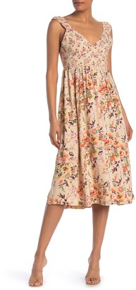 Nostalgia Apparel Thick Shoulder Strap Floral Midi Dress