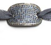 Lera Jewels Midi Sapphire And Pave Diamond Cuff On Silk Ribbon