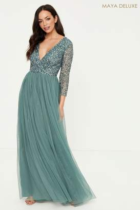Maya Womens Embellished 3/4 Sleeve Wrap Maxi Dress - Green