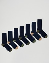 Asos Socks In Navy With Contrast Heel & Toe 7 Pack
