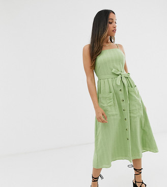 Miss Selfridge Petite cami midi dress with belt in green