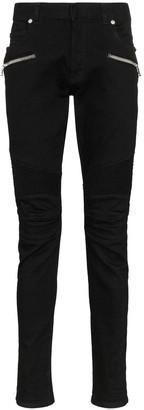Balmain Zip-Embellished Slim-Leg Jeans
