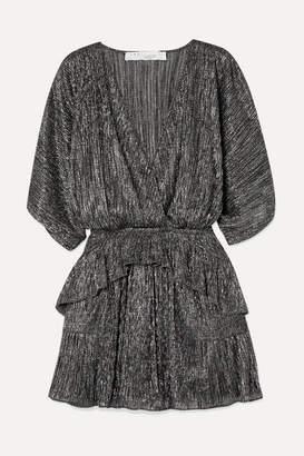 IRO Spina Wrap-effect Ruffled Lame Mini Dress - Silver