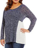 Moa Moa Plus Side Split Shirttail Hem Sweater
