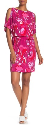 trina Trina Turk Bernice Cold Shoulder Tie Waist Floral Dress